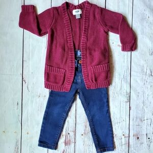 2T toddler girl sweater jeans outfit